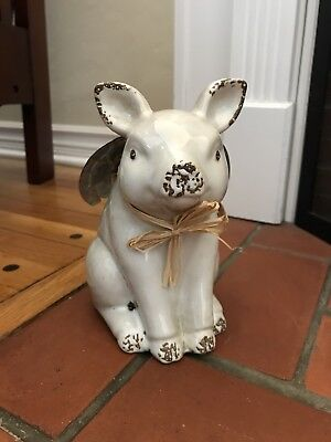 New Ceramic Flying Pig With Metal Wings Statue Figurine For Home Decor
