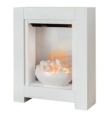 Small Electric Fire White Bowl Fireplace Pebbles Modern Surround Flat Wall Fix