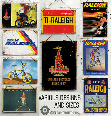 RALEIGH CYCLES BICYCLE ADVERT METAL SIGN 8x10in pub bar shop cafe garage shed