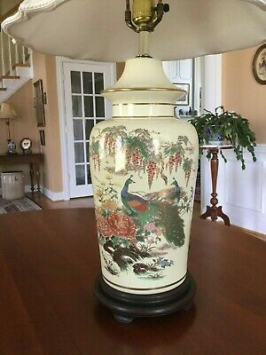 Vintage Chinese Porcelain Table Lamp Peas