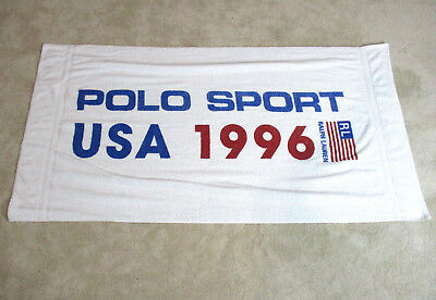 Vintage Ralph Lauren Polo Sport Beach Towel White 1996 Spell Out Flag 90s
